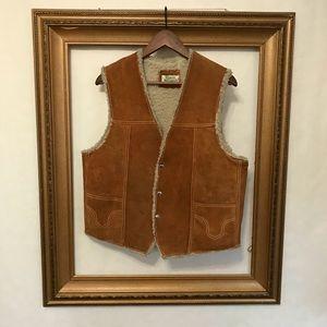 Other - Genuine leather vintage suede shearling vest, L